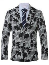 Lapel Single-Breasted Camouflage Print Wool Coat - GRAY 4XL