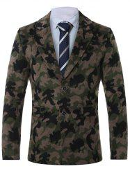 Lapel Single-Breasted Camouflage Print Wool Coat