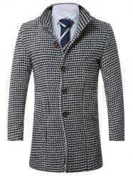 Lapel Single-Breasted Houndstooth Wool Coat - BLACK 2XL
