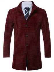Lapel Single-Breasted Houndstooth Wool Coat