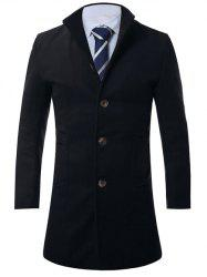 Stand Collar Single Breasted Longline Wool Coat - CADETBLUE 3XL