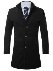 Stand Collar Single Breasted Longline Wool Coat - BLACK