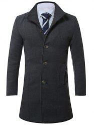 Stand Collar Single Breasted Longline Wool Coat -