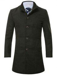 Stand Collar Single Breasted Longline Wool Coat