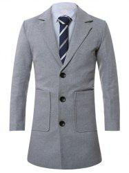 Lapel Single-Breasted Lengthen Pocket Wool Coat