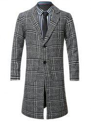 Lapel Single-Breasted Houndstooth Splicing Wool Coat - BLACK