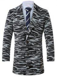 Lapel Single-Breasted Zebra-Stripe Wool Coat