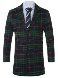 Lapel Single-Breasted Tartan Wool Coat