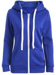 Fleece Pocket Design Zipped Hoodie - BLUE