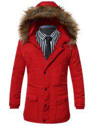 Furry Hood Pocket Zip Up Padded Coat