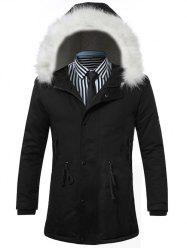 Furry Hood Drawstring Zip Up Padded Coat - BLACK 3XL
