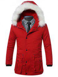 Furry Hood Drawstring Pockets Zip-Up Padded Coat
