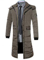 Hooded Lengthen Pockets Zip-Up Down Coat