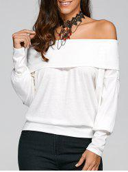 Off The Shoulder Long Sleeve T-Shirt - WHITE M