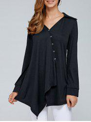Inclined Button Asymmetrical Blouse - BLACK M