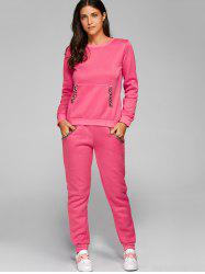 Pocket Design Sweatshirt + Sweatpants - DEEP PINK
