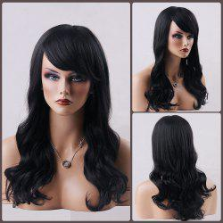 Long Wavy Oblique Bang Human Hair Wig - JET BLACK