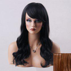 Long Wavy Oblique Bang Human Hair Wig