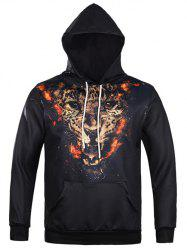 Tiger 3D Print Kangaroo Pocket Drawstring Hoodie - BLACK XL