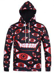 Eyes Printing Kangaroo Pocket Pullover Hoodie - RED + BLACK