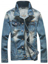 Scratched Button Up Skull Printed Denim Jacket - BLUE 3XL