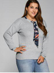 With Scarf Plus Size Sweater - GRAY 5XL