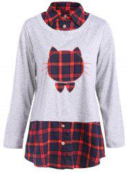 Kitten Pattern Plaid Patchwork Sweatshirt