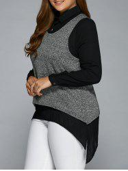 Asymmetric Loose Shirt With Casual Tank Top - BLACK 3XL