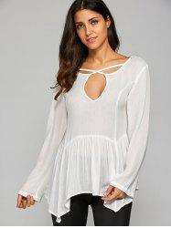 Cut Out Open Back Smock Blouse -