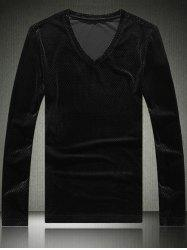 Slim Fit V-Neck Long Sleeve Velvet T-Shirt -