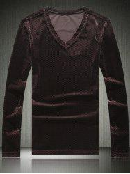 Slim Fit V-Neck Long Sleeve Velvet T-Shirt