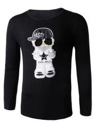 Long Sleeve Cartoon Applique Character T-Shirt