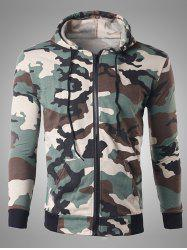 Zip Up Pocket Design Camouflage Hoodie - OFF-WHITE
