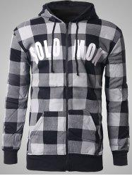 Zip-Up Letter Print Plaid Hoodie