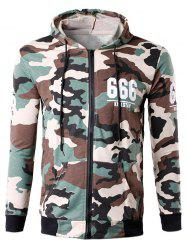 Zip-Up 666 Print Camouflage Hoodie - OFF-WHITE