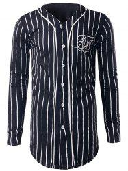 Button Up Vertical Striped Sweatshirt