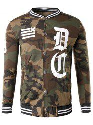 Button Up 99 Imprimer Camouflage Veste - Café L