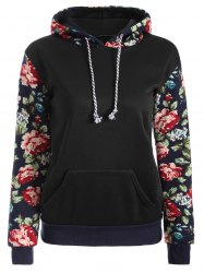Floral Print Front Pocket Preppy Hoodie - BLACK