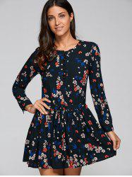Retro Tiny Floral Printed Button Shirt Dress