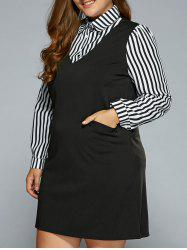 Plus Size Stripe Faux Twinset Dress