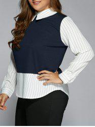 Plus Size Stripe Color Block Faux Twinset Shirt