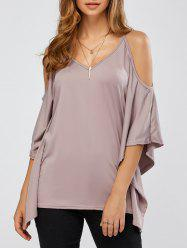 Batwing Sleeves Cold Shoulder T-Shirt