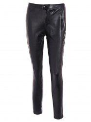 High Waist Buttoned PU Leather Pants