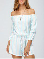 Stripe Off The Shoulder Loose Romper -