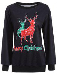 Christmas Deer Print Sweatshirt - BLACK XL