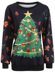 Christmas Tree Print Crew Neck Sweatshirt -