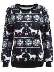 Printed Crew Neck Sweatshirt - WHITE AND BLACK XL