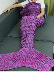 Knitting Fish Scales Design Mermaid Tail Style Blanket - LIGHT PURPLE