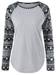 Tribal Print Sleeve T-Shirt