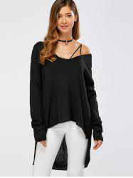 Skew Collar Drop Shoulder High Low Sweater - BLACK